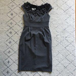 London Times gray knit cocktail dress 2P petite
